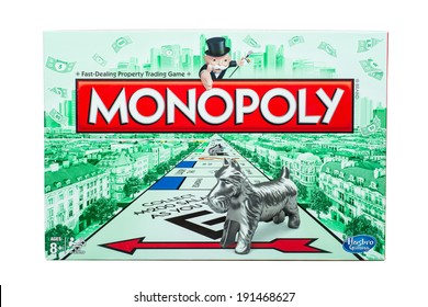 ATLANTA - MAY 2, 2014: Outside of box for classic Monopoly board game by Hasbro.