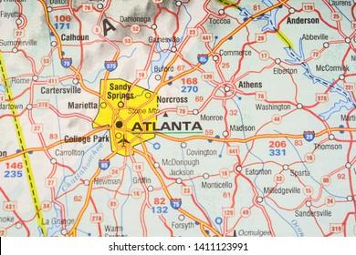 Atlanta on USA map background