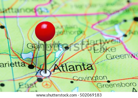 Atlanta On Map Of Usa.Atlanta Pinned On Map Georgia Usa Stock Photo Edit Now 502069183