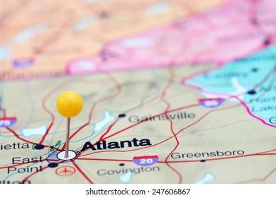 Atlanta pinned on a map of USA