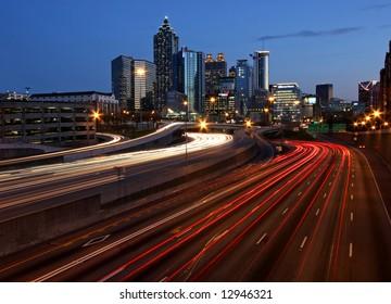 Atlanta rush-hour at night - long exposure