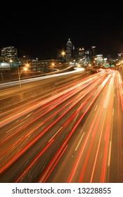 Atlanta rush-hour at night -  long exposure, ultra wide angle - Very dramatic