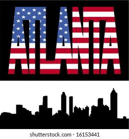 Atlanta skyline with Atlanta flag text illustration JPG