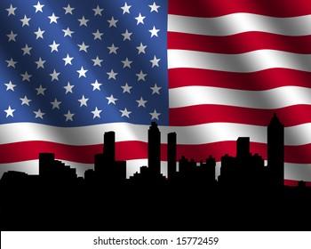 Atlanta skyline with rippled American flag illustration
