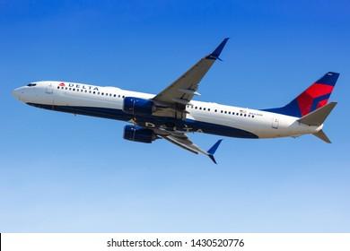 Atlanta, United States – April 3, 2019: Delta Air Lines Boeing 737-900ER airplane at Atlanta Airport (ATL) in the United States.
