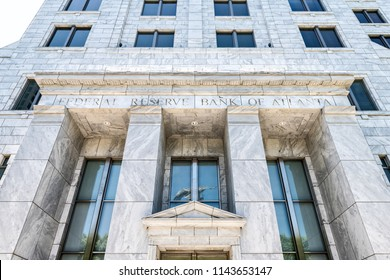 Atlanta, USA - April 20, 2018: Federal Reserve Bank of Atlanta, Georgia entrance, facade of regulatory, regulation government building in downtown, midtown