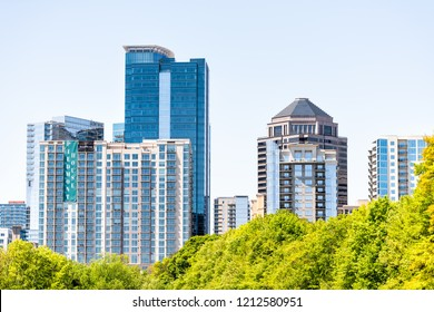 Atlanta, USA - April 20, 2018: Cityscape, skyline view in Piedmont Park in Georgia downtown, green trees, scenic urban city skyscrapers