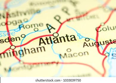 Atlanta. USA on a map