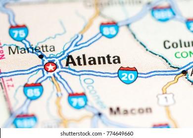 Atlanta. USA on a map.