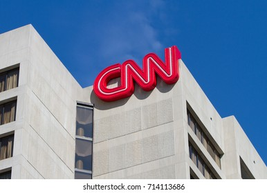 ATLANTA, USA - SEPTEMBER 10, 2017: CNN headquarters broadcast the news about Hurricane Irma, which hit the southeastern coast of the United States.