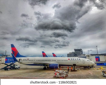 Atlanta,Georgia USA - Sep 16,2018 - Delta airplanes are lined up in Hartsfield Jackson Atlanta International airport.