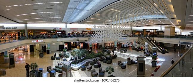 ATLANTA,GEORGIA/USA - MAY 14, 2018:  The interior of Terminal F, the international terminal at Atlanta's Hartsfield-Jackson airport.  Panoramic view.