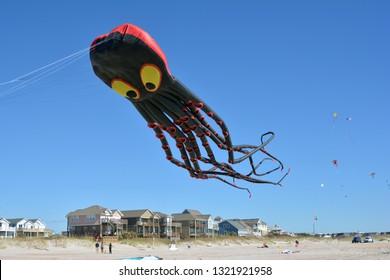 ATLANTIC BEACH, N.C. – OCT. 28, 2018: Octupus kite flying over Atlantic Beach, North Carolina, at the 30th annual Carolina Kite Fest.