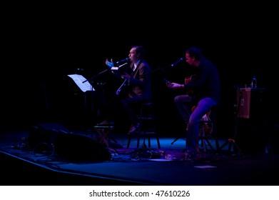 ATLANTIC CITY - FEB 26: Ray Davies (L) founding member of The Kinks, performs with Bill Shanley at the Borgata Casino February 26, 2010 in Atlantic City, NJ