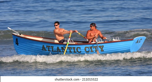 ATLANTIC CITY - July 18th:  Members of the Atlantic City lifeguard team compete at the Atlantic City Lifeguard Classic at the Albany Street Beach on July 18th 2014 in Atlantic City