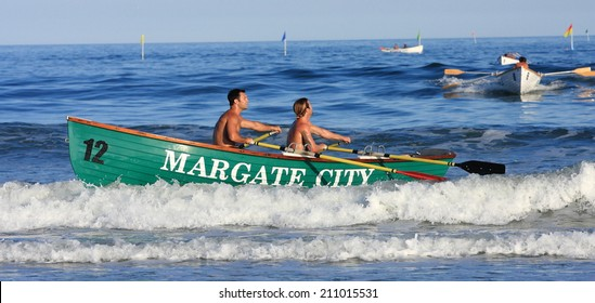 ATLANTIC CITY - July 18th:  Members of the Margate City lifeguard team compete at the Atlantic City Lifeguard Classic at the Albany Street Beach on July 18th 2014 in Atlantic City