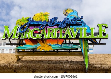 Atlantic City, New Jersey - Jimmy Buffett's Margaritaville restaurant sign at the Boardwalk - June 23. 2013