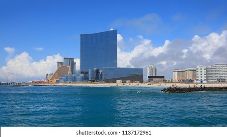 ATLANTIC CITY NEW JERSEY - JULY 5: Ocean View of  Casinos on July 5, 2018 in Atlantic City New Jersey.
