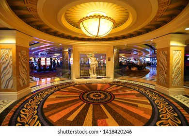 ATLANTIC CITY NEW JERSEY - JULY 4: Caesars palace casino is second casino opened in Atlantic city interior in night time on July 4, 2018 in Atlantic City New Jersey.