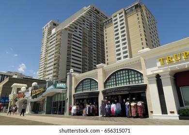 ATLANTIC CITY, NEW JERSEY - JUNE 12, 2016: Atlantic City Boardwalk. Hotels and shops on the boardwalk. Editorial use only.