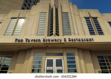 ATLANTIC CITY, NEW JERSEY - JUNE 12, 2016: Atlantic City Boardwalk. Tun Tavern Brewery and Restaurant in the Sheraton Hotel. Editorial use only.