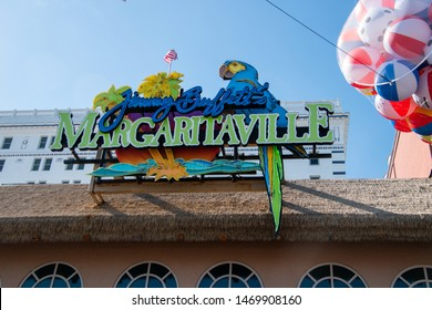 Atlantic City, New Jersey - May 24, 2019: Colorful Margaritaville sign over the Atlantic City, New Jersey boardwalk