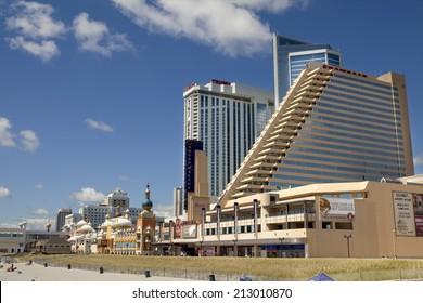 Atlantic City, New Jersey, USA - August 24, 2014:The Showboat, Taj Mahal ard Resort Casino in Atlantic City, New Jersey August 24, 2014. The Showboat Casino  will be closing in September of 2014