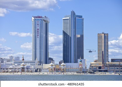 Atlantic City, New Jersey, USA - August 22, 2016: View of The Showboat and Taj Mahal Casino along the famous boardwalk in Atlantic City, New Jersey on August 22, 2016