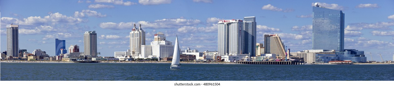 Atlantic City, New Jersey, USA - August 22, 2016: Panoramic ocean view of the famous boardwalk and skyline of Atlantic City, New Jersey on August 22, 2016