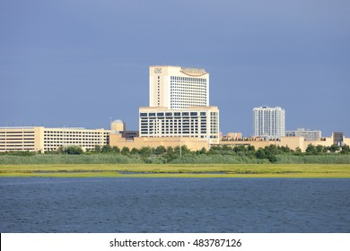 Atlantic City, New Jersey, USA - July 16, 2016: Bay view of the Golden Nugget Casino the marina district of Atlantic City, New Jersey on July 16, 2016.