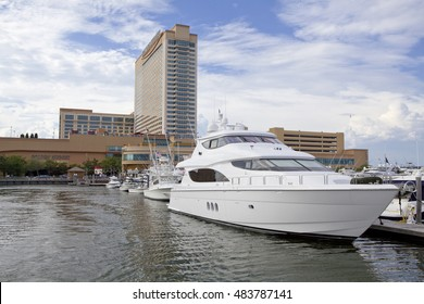 Atlantic City, New Jersey, USA - August 22, 2016: The  Farley State Marina located next to Golden Nugget Casino & Hotel Casino in Atlantic City, New Jersey on August 22, 2016