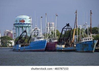 Atlantic City, New Jersey, USA - July 16, 2016: Commercial fishing boats in the back bay of the Historic Gardnerâ??s Basin area of Atlantic City, New Jersey July 16, 2016