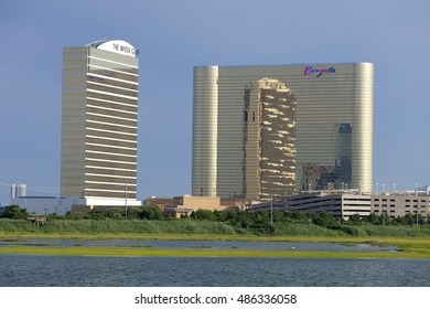 Atlantic City, New Jersey, USA - July 16, 2016: Bay view of the Borgata Casino & Hotel with the Water Club located in the marina district in the north end Atlantic City, New Jersey on July 16, 2016