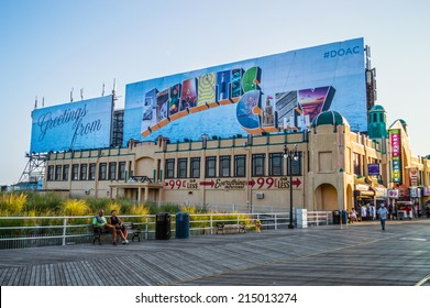 ATLANTIC CITY, NEW JERSEY/USA -September 2: A quiet boardwalk on September 2 2014 in Atlantic City after the closing of several casinos in the news.