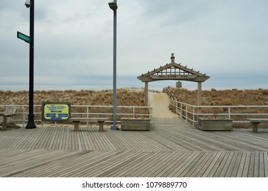 ATLANTIC CITY, NJ -1 APR 2018- View of the famous boardwalk in Atlantic City, a vacation town on the Jersey Shore known for its gambling casinos and hotels.