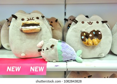 ATLANTIC CITY, NJ -1 APR 2018- It's Sugar candy stores carry Pusheen the Cat plush and gifts and host Pusheen parties. Pusheen is a popular cartoon character.