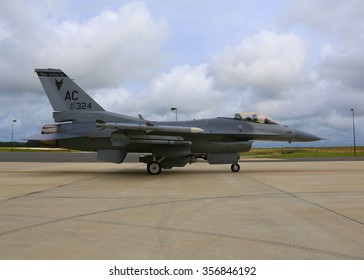 Atlantic City, NJ. 8/12/2014. A F-16C Block 30J Fighting Falcon from the NJ Air National Guard 177th Fighter Wing taxis out for a morning mission.