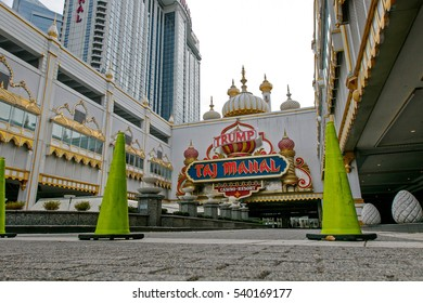 Atlantic City, NJ, December 11, 2016: Green cones mark restricted access to the closed out Trump Taj Mahal resort and casino. Since 2014 five casinos in Atlantic City had to close.