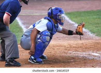 Atlantic City, NJ - JUNE 23: Catcher #9 Luis Rodriquez of Nashua Pride awaits pitch in game versus Atlantic City Surf June 23rd 2008 in Atlantic City NJ