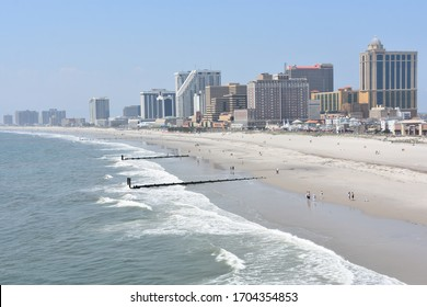 ATLANTIC CITY, NJ - MAY 19: Beach in Atlantic City, New Jersey, as seen on May 19, 2019. Atlantic City is a resort city in the northeast known for its casinos, boardwalk and beach.