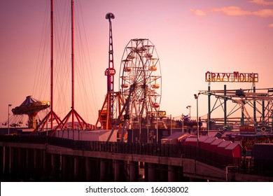 ATLANTIC CITY, NJ - SEPT 22:  View of Steel Pier amusement park rides in Atlantic City, NJ seen on the evening of Sept 22, 2013.  This historic amusement pier opened in 1898.