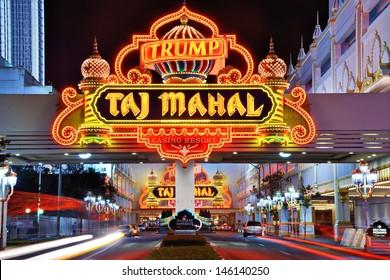 ATLANTIC CITY, NJ -  SEPTEMBER 8: Taj Mahal Casino September 8, 2012 in Atlantic City, NJ.  Gambling was legalized in the city in 1976 and led to a resurgence.