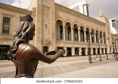 Atlantic City, NJ / USA - April 17, 2020: Famed for its casinos and sandy beach, the Atlantic City boardwalk is also home to bronzes dedicated to Miss America, construction workers and dolphins.