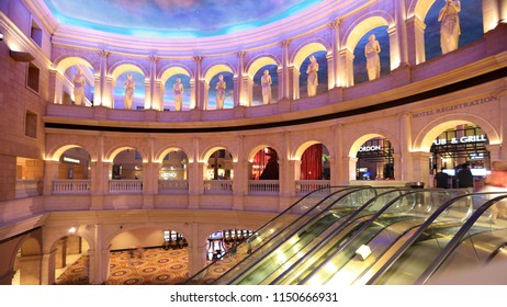 Atlantic City, NJ, USA July 5, 2018 Statues and Architecture, inspired by the works of Colosseum Italy, in the lobby of Caesars Palace in Atlantic City, New Jersey