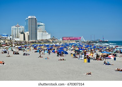 ATLANTIC CITY, NJ, USA - JULY 02, 2017: Tourists and vacationers enjoying the beautiful weather at Atlantic City on the busy 4th of July holiday weekend.