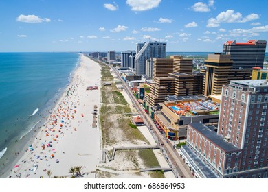 ATLANTIC CITY, NJ, USA - JUNE 29, 2017: Aerial image of Atlantic City casinos and boardwalk on the beach