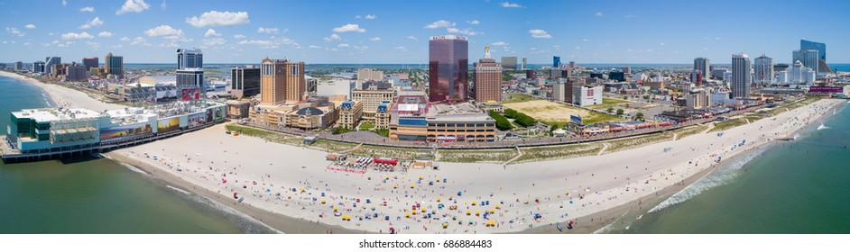 ATLANTIC CITY, NJ, USA - JUNE 29, 2017: Aerial photo of Atlantic City boardwalk and casinos