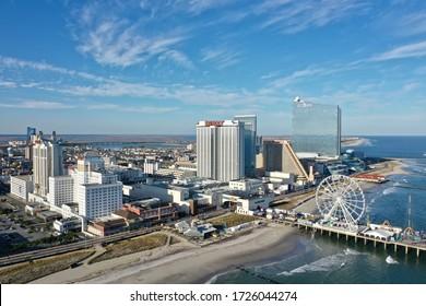 Atlantic City N.J/USA/ April 3, 2020: Aerial view of Atlantic City N.J during Covid 19 pandemic.