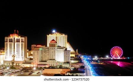 Atlantic City N.J/USA/Nov. 19, 2018: Aerial view of Atlantic City New Jersey.