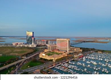 Atlantic City N.J/USA/Nov. 4 2018: Aerial view of Atlantic City skyline.